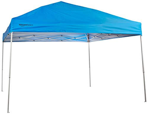 pop up shade tents Amazon Basics Pop-Up Canopy Tent - 10' x 10', Blue