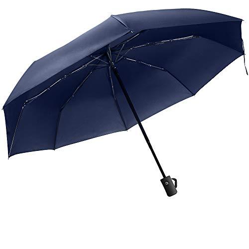 Paraguas automático Resistente al Viento Paraguas de Viaje Plegable con Apertura y Cierre automático Paraguas antiviento, Compacto y ligeroTejido (01-Mango Recto Azul)