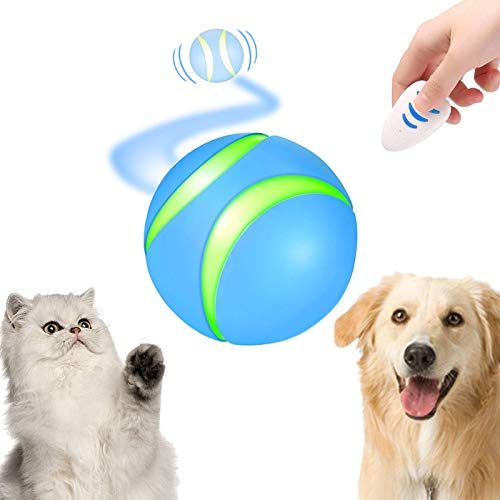 Gynthias Automatic Interactive Cat&Dog Toys | Best Remote Control Ball for Bored Pets | Intelligent Self Rolling Robotic Wicked Balls with Spinning LED Light to Keep Kitty&Puppy Entertained(Blue)