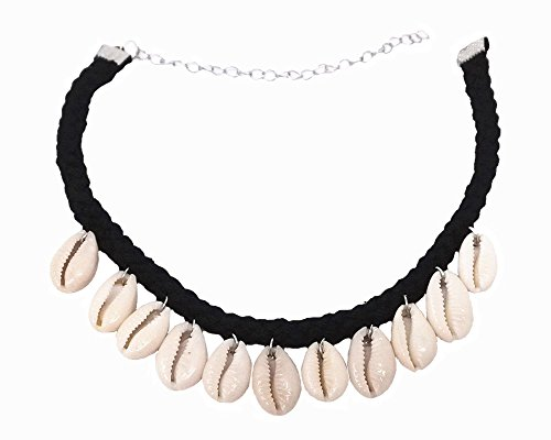 Honbay Natural Shell Cowry Clavicle Necklace, Seashell Drop Short Necklace Choker for Women and Girls
