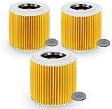 SANAWATEC 3 filtros de cartucho compatibles para aspiradora Kärcher WD3 Premium WD2 WD3 WD1 MV3 MV2 WD 3P Extension Kit...