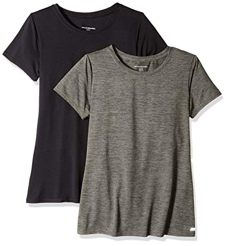 Amazon Essentials 2-Pack Tech Stretch Short-Sleeve Crew T-Shirt Athletic-Shirts, Olive Space Dye/Black, Medium