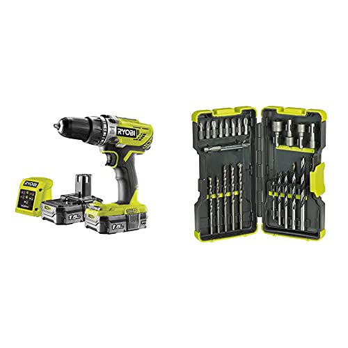 Ryobi R18PD3-215GZ 18 V ONE+ Cordless Combi Drill Starter Kit (2 x 1.5 Ah) & RAK30MIX Mixed Drilling and Driving Bit Set, 30 Piece
