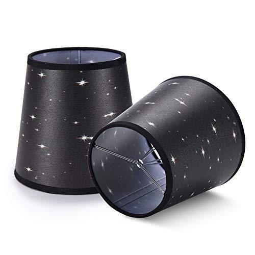 YISUN Moderner Kristallkerzenleuchter Mini-Lampenschirm 5,5 Zoll, Lampenschirm Hängelampe,Wandleuchte Lampe,Glockenförmig, Aufsteckbar, Zweiteilig (schwarzer Sternenhimmel) (Schwarz)