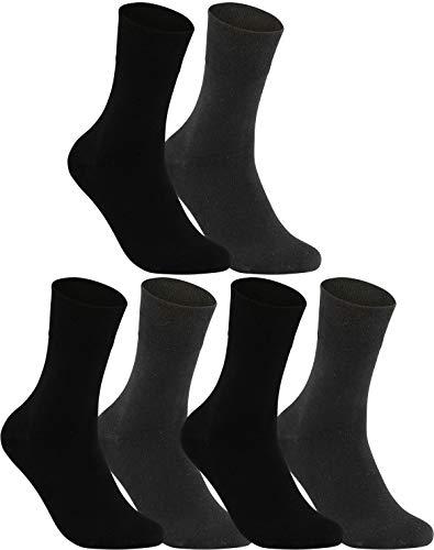 Vitasox 13312-15 Damen Socken Damensocken Ges&heitssocken Baumwolle ohne Gummi ohne Naht schwarz anthrazit 6er Pack 35/38