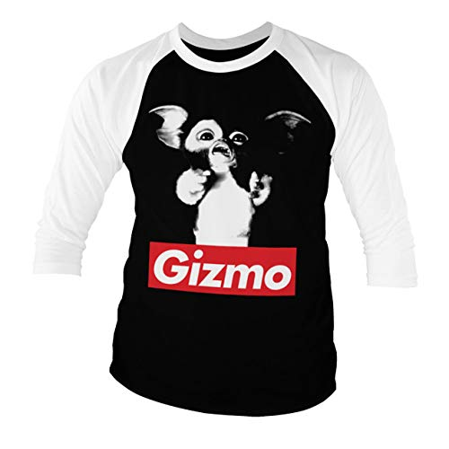 Gremlins Officially Licensed Gizmo Baseball 3/4 Sleeve T-Shirt (Black-White), XX-Large