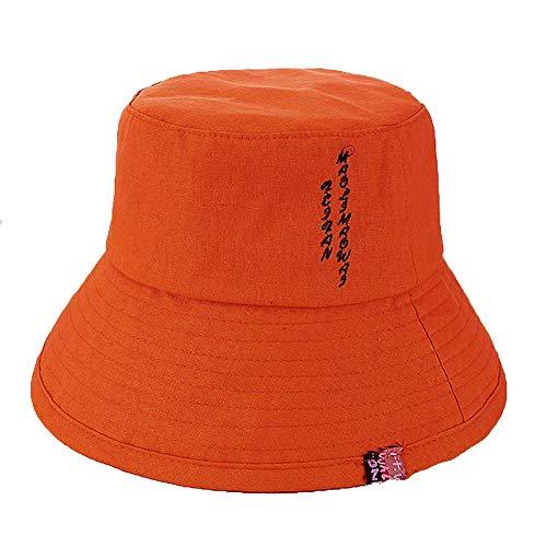 FZXHJ Zomer Effen Kleur Katoen Sunshade Fisherman Hat, Dames Nieuwe Borduurwerk Letter Doek Outdoor Vrije tijd Emmer Cap