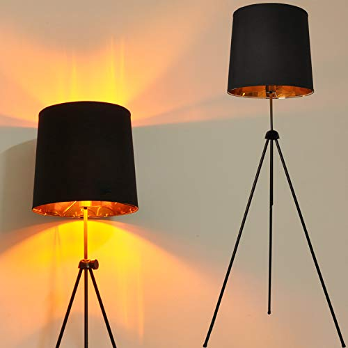 Tripod LED Floor Lamps for Living Room, Mid Century Modern Standing Light for Bedroom, Adjustable Metal Contemporary Design, Black Drum Shade Lamp for Office-Without Blub