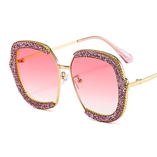 Gafas De Sol De Gran Tamaño para Mujer, Diseño De Marca De Moda, Gafas De Sol Cuadradas con Diamantes De Lujo para Hombres Y Mujeres, Sombras Uv400 Goldpink