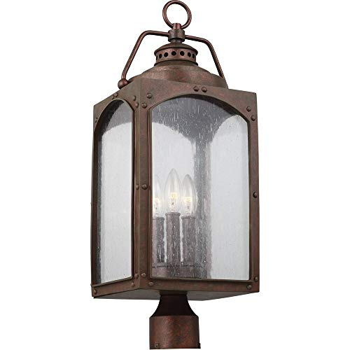 Murray Feiss Lighting OL14373CO Randhurst - Three Light Outdoor Post/Pier Lantern, Copper Oxide Finish with Clear Seeded Glass