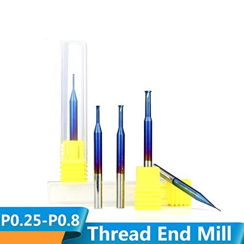 CHENWN 1Pc P0.25-P0.8 Nano Blau Coated Gewindefräser Hartmetall Einzelgewindefräser,P0.8*D3.9*D4*12 * 50L
