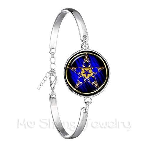 Gotisches Armband, Pentagramm Punk Armband Gothic versilbert Armreif Okkult Pentagramm Schmuck heidnischen Charm Armreif-D.
