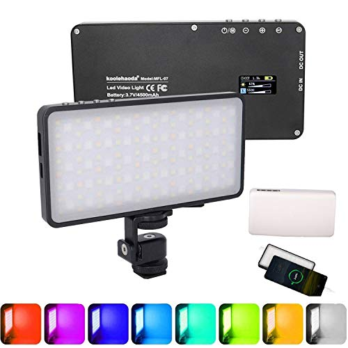 Koolehaoda RGB LED Video Light 6 Light Modes, CRI 96+ 3000K-6500K Dimmable, with Type C Port USB DC Output Power Bank Feature,for Camera Photography Photo Lighting(MFL-07)