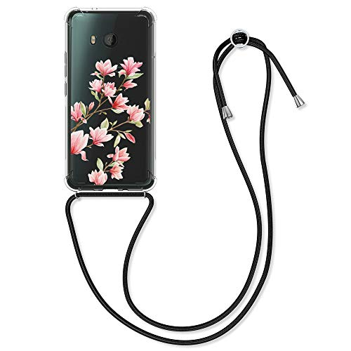 kwmobile Hülle kompatibel mit HTC U11 - Silikon Handyhülle mit Kette - Rosa Weiß Transparent Magnolien