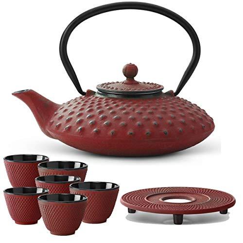 Bredemeijer Teekanne asiatisch Gusseisen Set rot 0,8 Liter mit Tee-Filter-Sieb mit Untersetzer und Teebecher (6 Tassen)