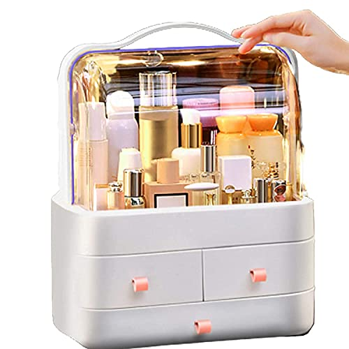 Organizador de maquillaje grande, caja de almacenamiento cosmética clara actualizada, caja de exhibición cosmética, con 3 cajones – impermeable, a prueba de polvo, elegante vitrina (color: rosa)