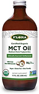 FLORA - MCT Oil, Brain Health, Keto-Friendly, Ethically Sourced, 17 Fl Oz