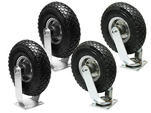 2x Lenkrolle + 2 x Bockrolle Luftrad 260mm 100kg Schubkarre Sackkarre Reifen Rad 3.00-4 Stahlfelge