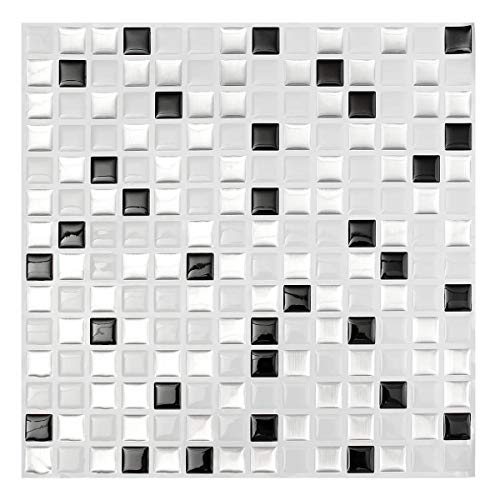 DIY Fertigkeit-Charme 3D Brick-Mosaik-Fliese Wand-Papier-Folie Badezimmer Küche Wohnkultur Aufkleber Modernes Schwarz Weiß DIY Zubehör für Mädchen Teens Geschenke