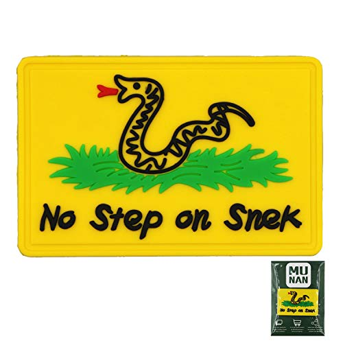 No Step On Snek Tactical PVC Patch No Step On Snek Badge Sew On Patches Hook-Back Adhesion(Yellow)