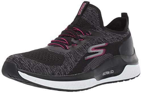 Skechers Go Run Steady, Baskets Femme, Noir(Black Textile/Hot Pink Trim Bkhp), 39 EU