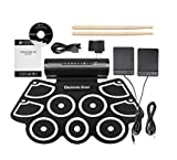 QAWACHH Electronic Portable Drum Children Musical Instrument Jazz Electronic Percussive 5 Pad