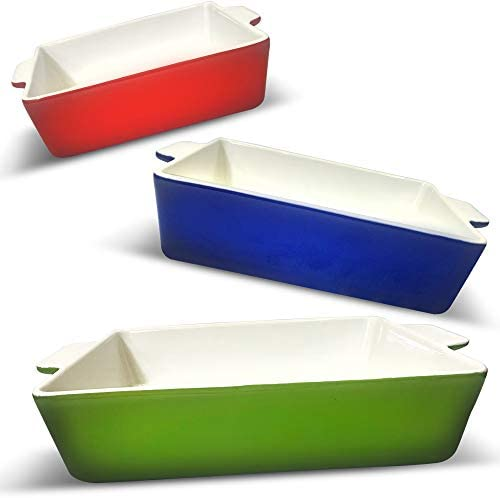 LUMI Ceramic Baking Dish Set 3 PC Nonstick Deep Casserole Dish Set in Green Blue Red color Safe product image