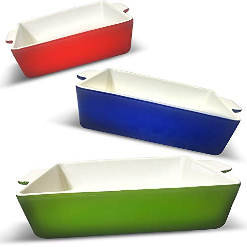 LUMI Ceramic Baking Dish Set - 3 PC Deep Casserole Dish Set in Green, Blue, Red color