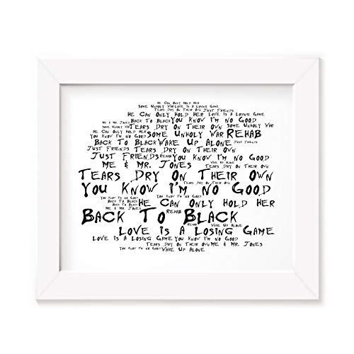 Amy Winehouse Poster Print - Back To Black - Letra firmada regalo arte cartel