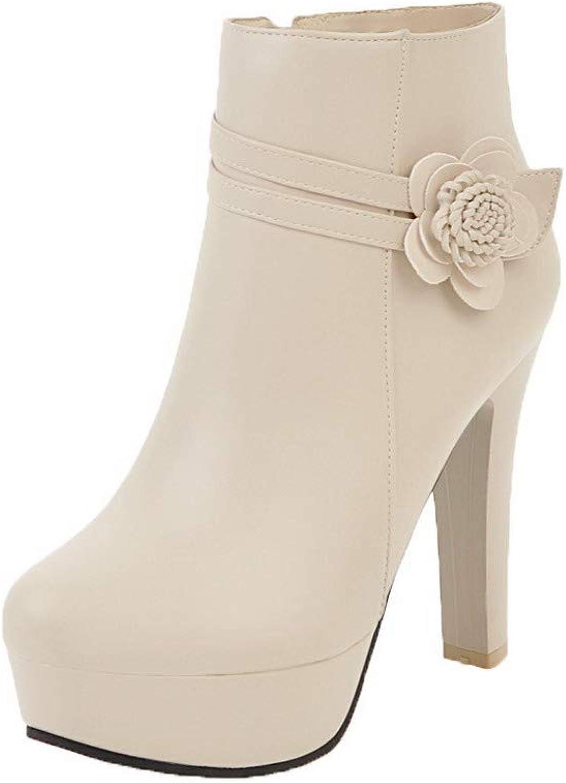 WeenFashion Women's High-Heels Solid Round-Toe Pu Zipper Boots, AMGXX122438