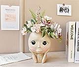 Maceta Wlnnes Linda cara humana jarrón decoración interior ojos grande muñeca resina maceta figura escultura artesanía almacenamiento contenedor flor disponer contenedor altura: 18 cm Maceta de cerámi