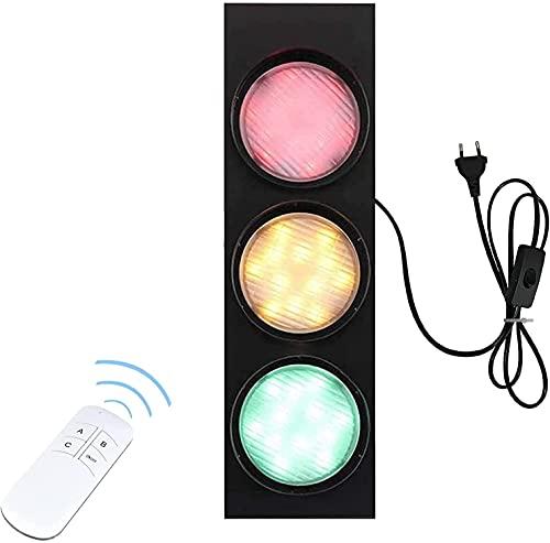 YANSW Lámpara de pared Aplique de pared Aplique de pared, Enchufe Decoración de semáforo LED con interruptor de control remoto Rojo/Verde/Amarillo Tricolor Retro