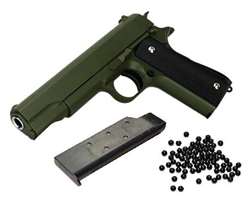 KOSxBO® Airsoft Pistole 19cm - Vollmetall Metallschlitten, Oliv Kaliber 6 mm BB Ink. Premium BBS Munition - Soft Air unter <0,5J in Dunkles grün - ab 14 Jahren