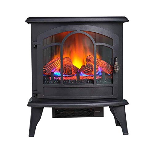 NMYYV Electric Fireplace Stove, Portable Freestanding Fireplace with 3DThermostat and Remote Controller, 3D Realistic Flame and Logs Vintage Design for Home and Office, CSA Approved Safety