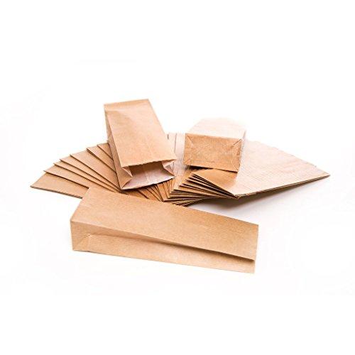 Logbuch-Verlag 50 kleine BRAUNE Papiertüten mit Boden + Pergamineinlage Teetüten 7 x 4 x 20,5 cm Mini-Tüten Kraftpapier lebensmittelecht Verpackung Blockbodenbeutel