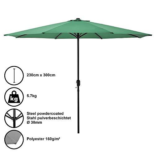 [casa.pro] Ombrellone (Ø300cm)(verde)(alluminio) Manovella / Ombrellone / Ombrellone da mercato / Ombrellone da giardino / Giardino
