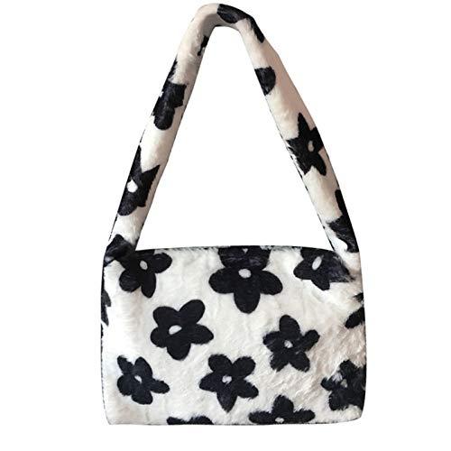 Plush Underarm Bag, Faux Fur Clutch Handbag, Ladies Fluffy Shoulder Bag, Women Furry Plush Handbag Winter Fuzzy Crossbody Messenger Bag Purse (Black Flower B)
