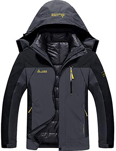 GEMYSE Men's Waterproof 3-in-1 Ski Snow Jacket Puffer Liner Insulated Winter Coat (Black Grey,L)