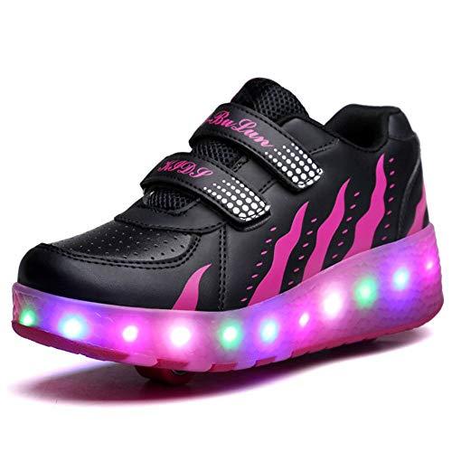 Unisex Kinder LED Rollschuh Schuhe Mit Einstellbare Doppelräder LED Lichter Blinken Skateboardschuhe Trainer Sneakers Rollen Schuhe Für Junge Mädchen,Rose-41