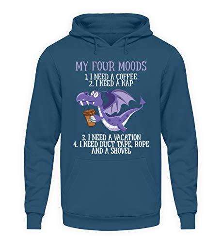 Geschenkidee Spruch My Four Moods Coffee Nap Vacation Duct Tape mit Drachen Grafik - Unisex Kapuzenpullover Hoodie -S-Azurblau
