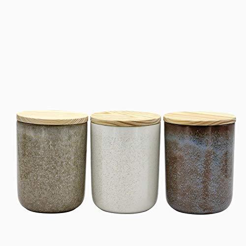 Keramikdose ATLANTICA 3er-Sets mit Holzdeckel