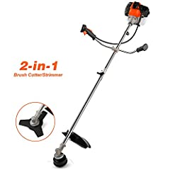▶ 2-In-1 Brush Cutter/Trimmer -- Fast shipping from our US warehouse. Comes with a 0.08'' dual line bump feed head and a brush cutter blade, this 2-in-1 Gas Trimmer and Brush Cutter allows you to do multiple chores with one machine. Not only can trim...
