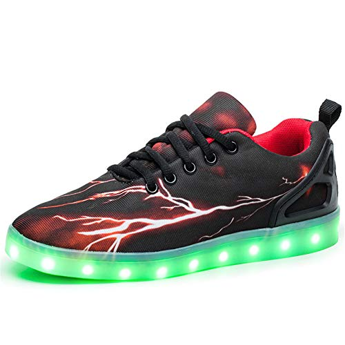 Kauson Unisex Kinder LED Schuhe 7 Farbe USB Aufladen LED Leuchtend Outdoor Sportschuhe Low Top Atmungsaktives Ultraleicht Wasserdicht Laufschuhe Gymnastik Turnschuhe Blinken Sneaker Für Paar
