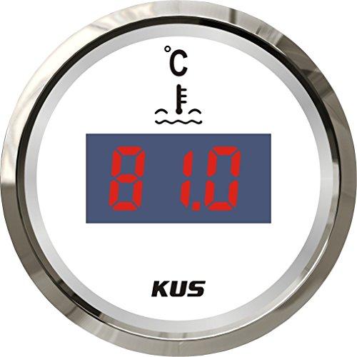 """KUS Digital Wassertemperaturanzeige 25-120 ℃ Mit Hintergrundbeleuchtung 12V/24V 52MM (2 """") (Weiß)"""