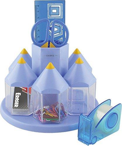 EXERZ EX058 O-Life Organizer da scrivania/ set ruotante portaoggetti da scrivania per penne con 5 scompartimenti per accessori – Diversi colori - riempito con forbici di sicurezza (non taglienti), righello, distributore di nastro adesivo, gomma, graffette (Blu)
