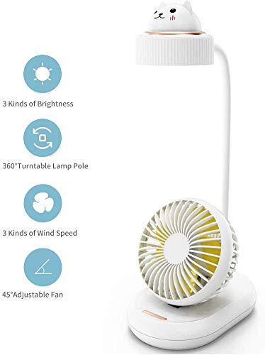 DZJ La lámpara de Escritorio LED Multifuncional y el Ventilador, la lámpara de Escritorio de 28 Cuentas LED y Cuello de Cisne, Tres Niveles de Brillo y Velocidad del Viento, Son adecuados,Blanco