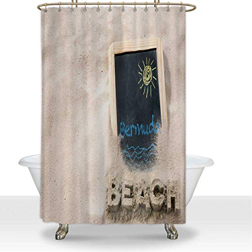 ALUONI Beach on Bermuda in The Sun with Sunny Old Fashioned Slate Tablet and Shower Curtainsdy Letters Durbale Shower Curtain Shower Liner,for Hotel,60''W x 72''H