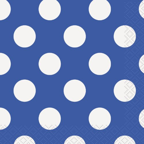 Royal Bleu LOT de 16 serviettes en papier Motif – Pois