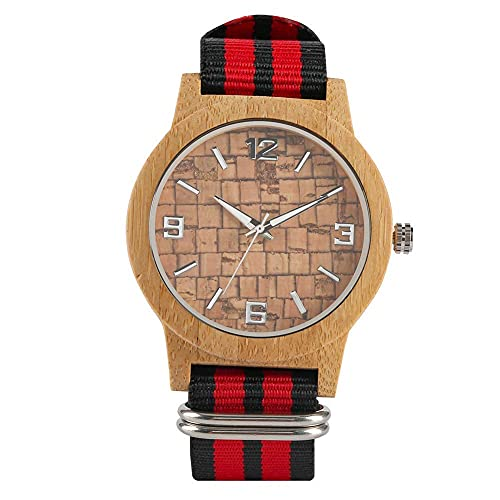 HYLX Reloj de Madera de Cuarzo Hecho a Mano para Hombre, Reloj de Madera Informal con Puntero Fluorescente para Mujer, Relojes de Madera superligeros con Correa de Nailon para Amigos -