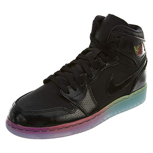 Jordan Nike Air 1 Retro Hi Prem GG Hi Top Trainers 705296 Sneakers Shoes (UK 8 us 9Y EU 42.5, Black Black Fuchsia Flash 025)